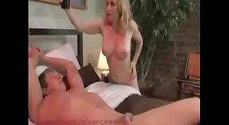 Newly married bride dominates, humiliates, rides and strapon fuck her groom.