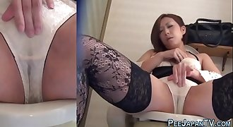 Asian in stockings pisses