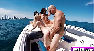 Wild bikini honeys in a hot boat party orgy