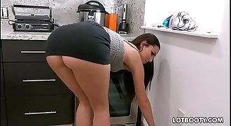 Gorgeous black-haired big booty honey Aidra Fox fucks handy man