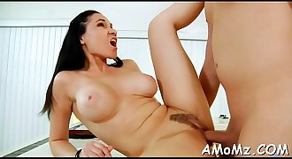 Lad works on horny mature pussy
