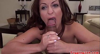 Bigtits glam beauty loves stroking cock