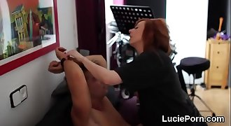 Unexperienced lesbian girls get their narrow snatches licked and reamed