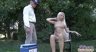 The icecream man gets to have sex with beautiful blonde taut ass pussy cum