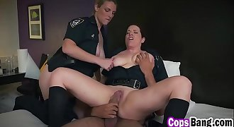 Two Busty Female Cops Enjoy Railing Huge Black Dick In Threesome