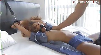 Ebony Kendall Forest tied up and banged by hard man meat