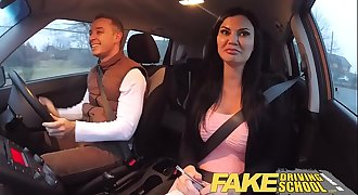 Fake Driving School exam failure completes in threesome dual creampie