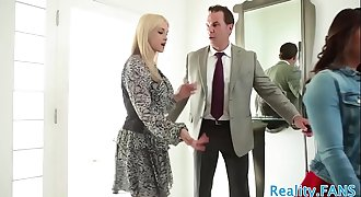 Teen babe banged by an older couple